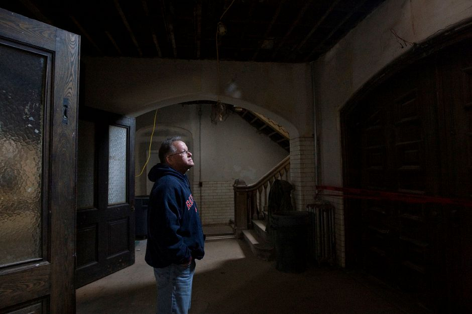 Wayne Barneschi, founder of the Trail of Terror in Wallingford, stands in the former armory at 241 E. Main St. in Meriden, Thursday, January 26, 2017. Extensive repairs and environmental cleanup have rehabilitated the once blighted building. Barneschi is constructing the 'Armory of Darkness' in the 1908 structure and hopes to open in time for the Halloween season. | Dave Zajac, Record-Journal