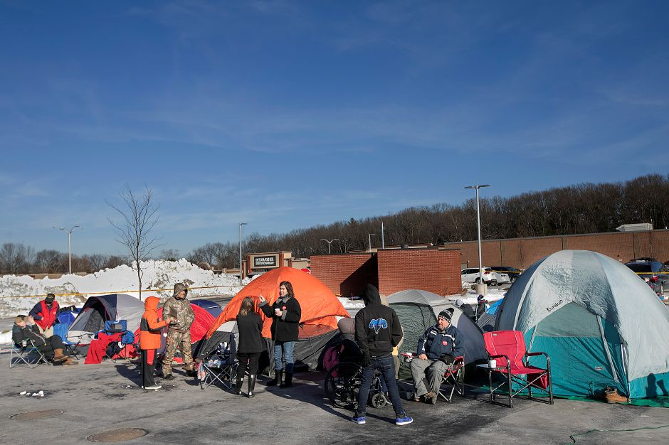 Campers wait for the the opening of the new Chick-fil-A on Queen Street in Southington, Wednesday, Jan. 10, 2018. | Dave Zajac, Record-Journal