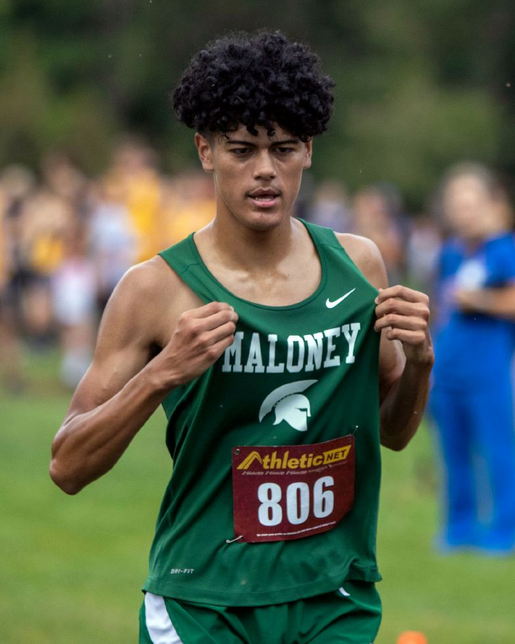 Reynaldo Torres led the Maloney Spartans at this weekend's Nike Cross Country Northeast Regionals. The junior logged a time of 18:12 on the demanding 3.1-mile course at Bowdoin Park in Wappinger Falls, N.Y. | Aaron Flaum, Record-Journal
