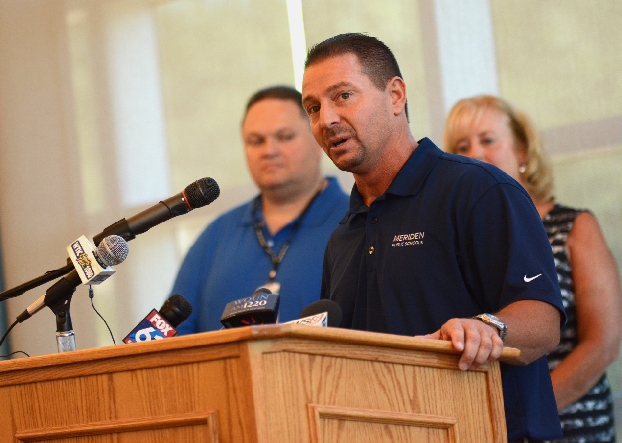 FILE PHOTO -- Meriden Public Schools superintedent Mark Benigni speaks at  Platt High School on