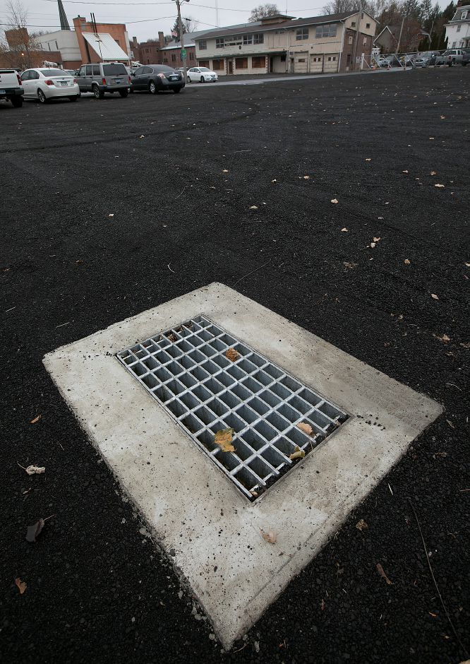 A storm drain installed in the new public parking lot at the end of Wallace Avenue in Wallingford.
