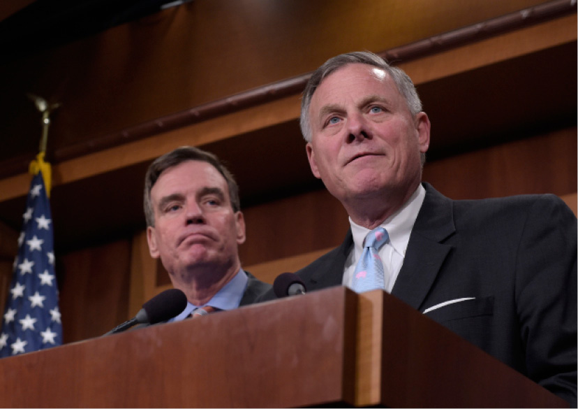 Senate Intelligence Committee Chairman Sen. Richard Burr, R-N.C., right, and the committee