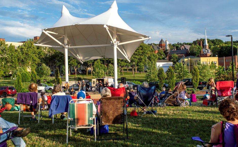 Families flocked to the Meriden Green to enjoy a cool evening of good music at the Twilight Music Series which took place at the amphitheater on the Meriden Green on July 6, 2018 | Andrew Baxter, Special to the Record Journal