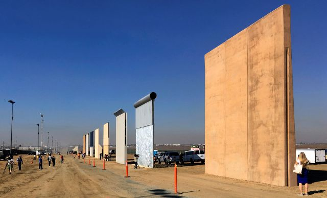 This  file photo from last October shows prototypes of border walls in San Diego. Associated Press