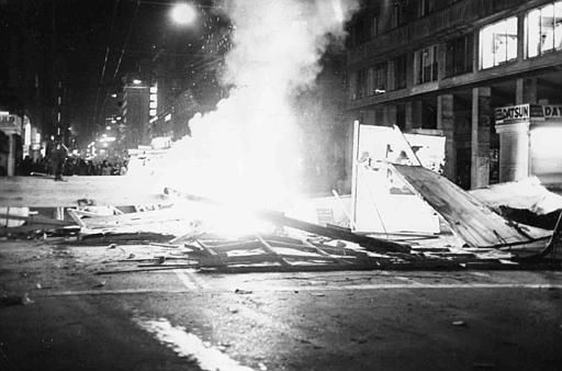 Barricade and fire in a street in Athens, Greece, Nov. 17, 1973, during the clashes between anti-government rioters and police and army. Nine people were killed during the anti-government troubles. (AP Photo)