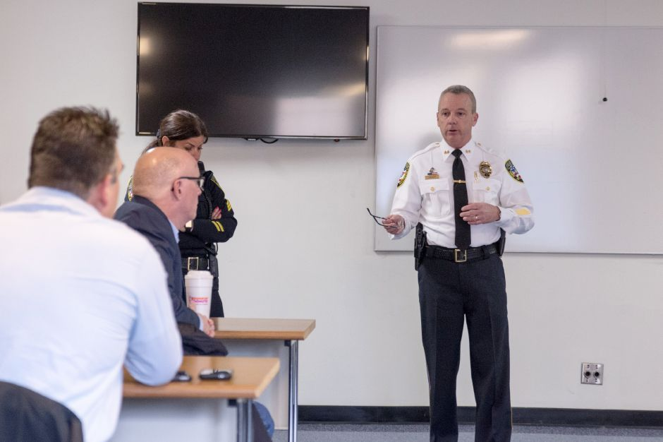 Wallingford Police Chief William Wright addresses parents at a meeting regarding an inappropriate message left on a Sheehan High School whiteboard. The meeting was held at the police department headquarters on Feb. 23, 2018. | Devin Leith-Yessian/Record-Journal