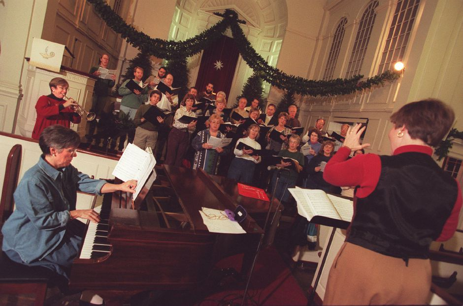 "RJ file photo - Chorale Connecticut rehearses for their upcoming ""Sounds of the Season"" concert at First United Methodist Church, Dec. 1998."