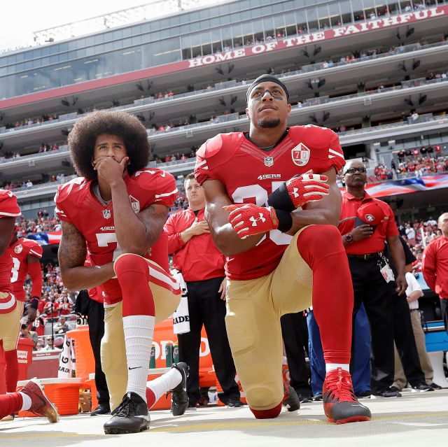 FILE - In this Oct. 2, 2016 file photo, San Francisco 49ers quarterback Colin Kaepernick, left, and safety Eric Reid kneel during the national anthem before an NFL football game against the Dallas Cowboys in Santa Clara, Calif.  As NFL training camps open, let