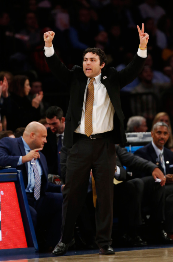 Georgia Tech head coach Josh Pastner instructs his team against Cal State Bakersfield during the second half of an NCAA college basketball game in the semifinals of the NIT Tuesday, March 28, 2017, in New York. (AP Photo/Kathy Willens)