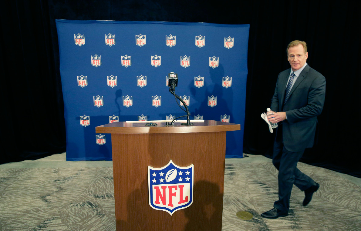 NFL Commissioner Roger Goodell arrives to speak to reporters after the NFL football owners meeting in Irving, Texas, Wednesday, Dec. 14, 2016. (AP Photo/LM Otero)