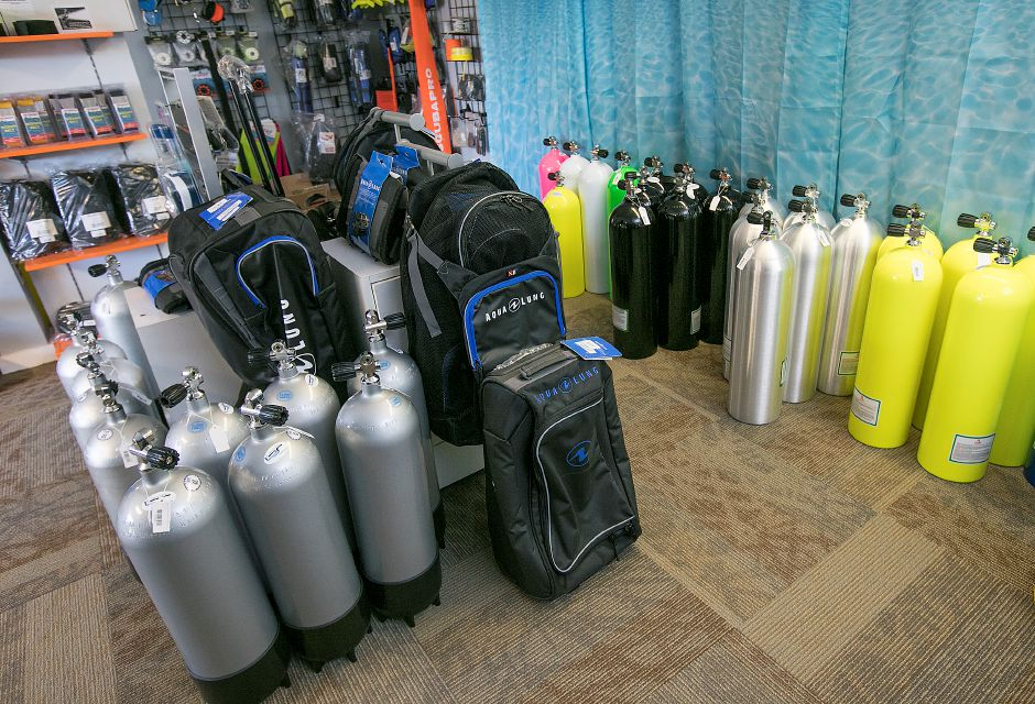 An assortment of tanks available at New England Dive in Wallingford, Friday, April 20, 2018. New England Dive will hold a grand opening at its new location at 1060 S. Colony Rd. next weekend. Dave Zajac, Record-Journal