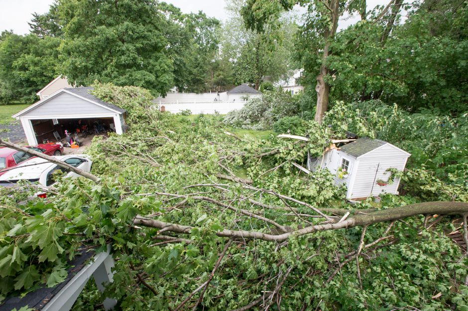 A second floor view from Deb and John Corcoran back yard where a tree limb landed on their shed Tuesday in Wallingford Jun. 23, 2015 | Justin Weekes / For the Record-Journal