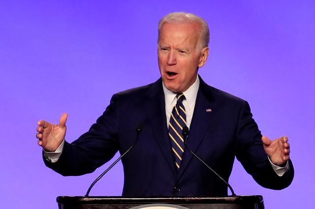 FILE - In this April 5, 2019, file photo, former Vice President Joe Biden speaks at the International Brotherhood of Electrical Workers construction and maintenance conference in Washington. (AP Photo/Manuel Balce Ceneta, File)