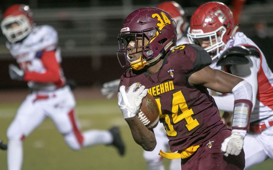 Terrence Bogan had three more touchdown runs in Sheehan's latest victory, an SCC Tier 2 decision over Hillhouse on Friday night at New Haven's Bowen Field. | Dave Zajac, Record-Journal