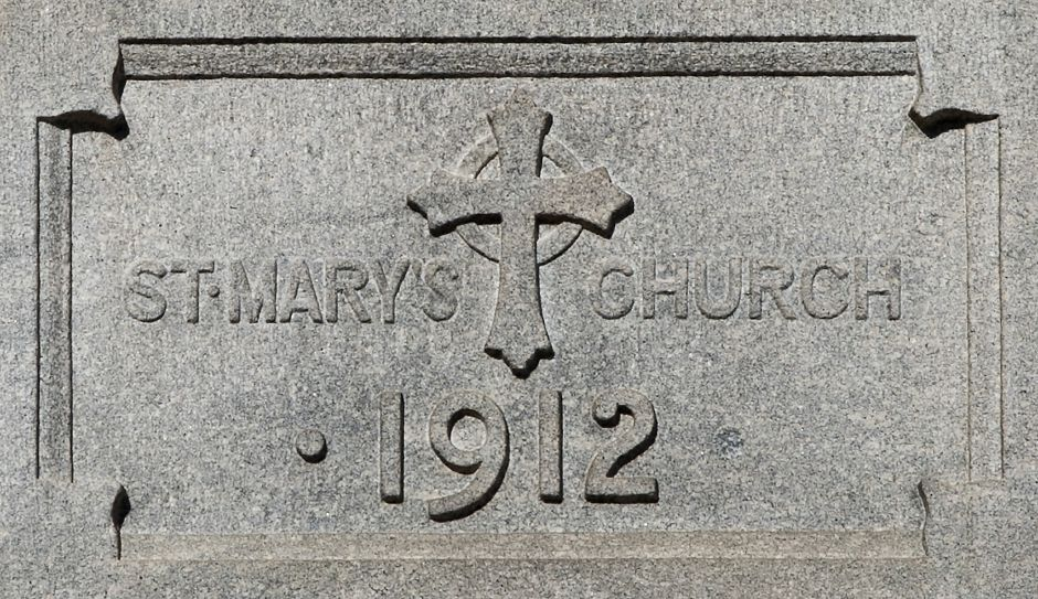 A 1912 engraving on the former St. Mary Church on Church Street in Meriden.