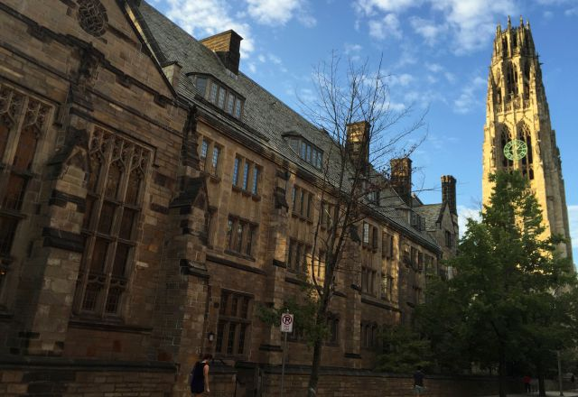 FILE - This Sept. 9, 2016 photo shows Harkness Tower on the campus of Yale University in New Haven, Conn. (AP Photo/Beth J. Harpaz, File)