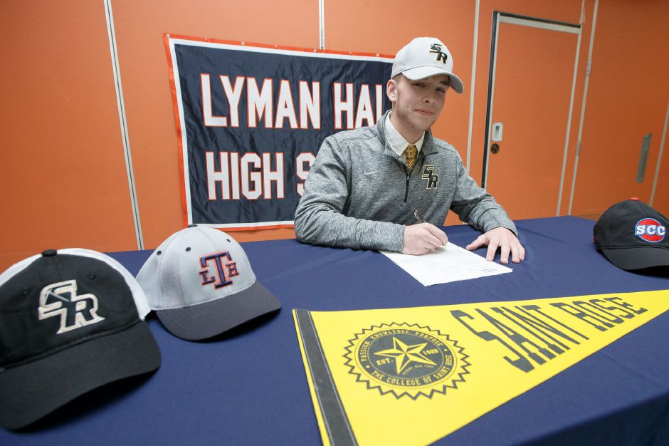 Lyman Hall senior baseball player Jack McDonald on Thursday signed his National Letter of Intent to play baseball for the College of Saint Rose, a Division II school in Albany, N.Y. | Justin Weekes / Special to the Record-Journal
