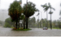 Heavy rains flood the streets in the Coconut Grove area in Miami on Sunday, Sept. 10, 2017, during Hurricane Irma. (AP Photo/Alan Diaz)
