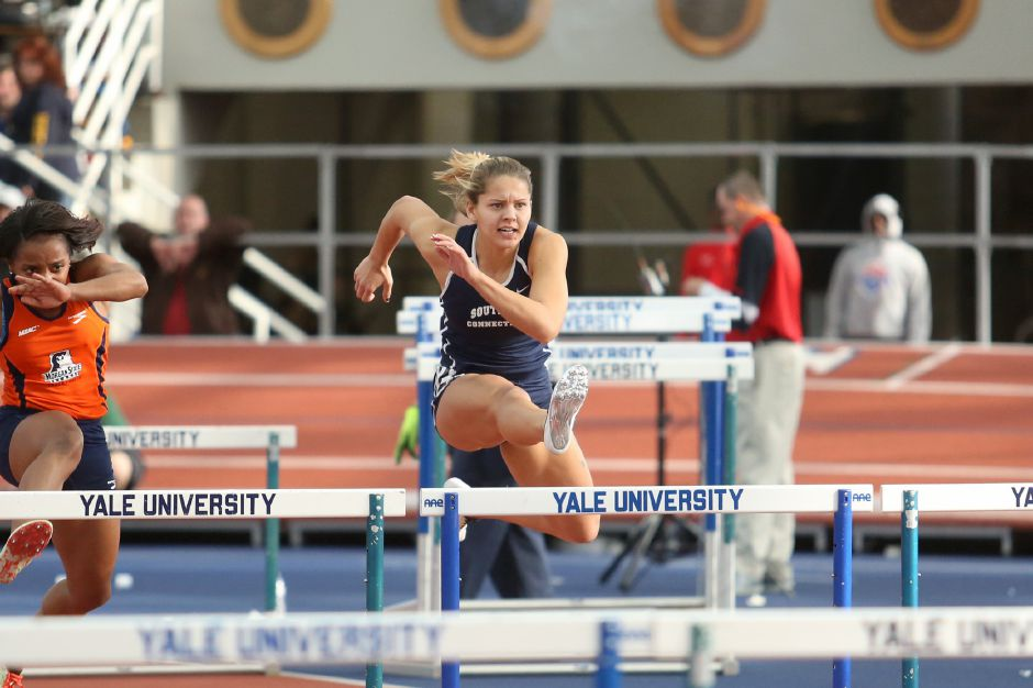 Maloney grad Briana Burt, now a senior at Southern Connecticut, set a school record in the 100 hurdles during preliminaries at this weekend's New England Championships, then went on to win the event. | Photo courtesy of SCSU