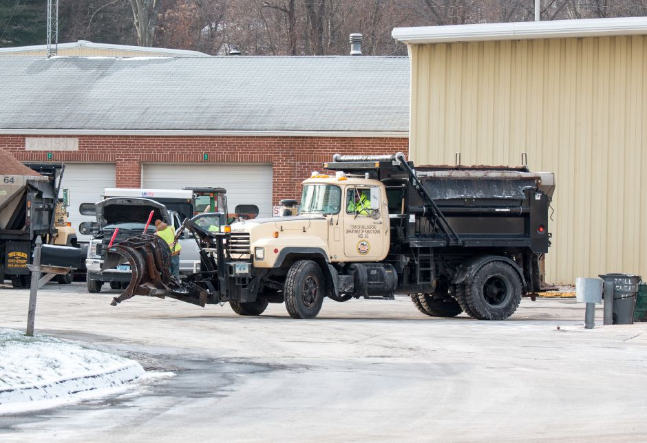 A Wallingford Public Works employee was stuck by a plough outside the Public Works building Wednesday. The Wallingford Fire Department reported that he sustained no injuries and was not transported from the scene. | Devin Leith-Yessian/Record-Journal