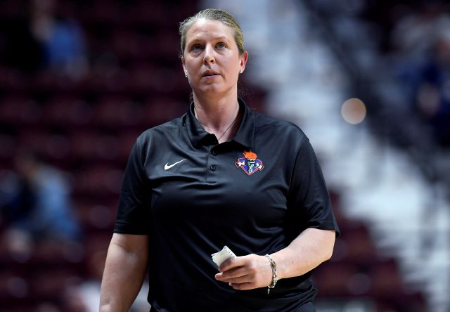 FILE - In this May 8, 2018, file photo, New York Liberty coach Katie Smith looks up during the team
