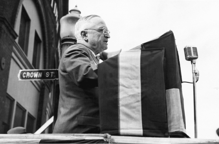 President Harry S. Truman addresses a crowd of about 20,000 in downtown Meriden on Oct. 16, 1952, while campaigning for Adlai E. Stevenson, the Democratic candidate for president. Mr. Truman gave 'em hell on this quick trip, which also included stops in North Haven, Wallingford and Middletown.| File photo, Record-Journal
