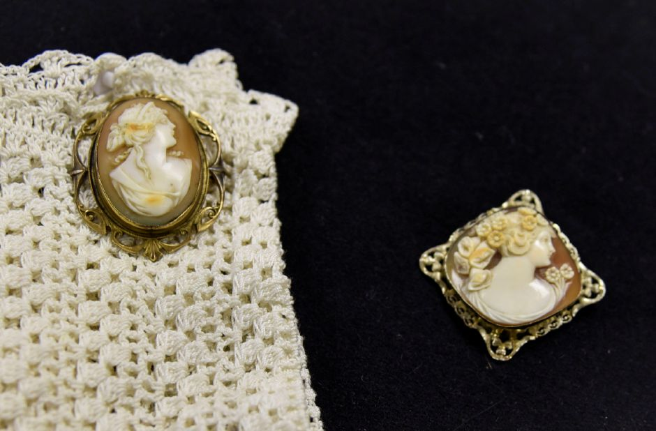 The oldest (left) and most expensive (right) cameos at Vintage from the Heart on Nov. 1. | Bailey Wright, Record-Journal