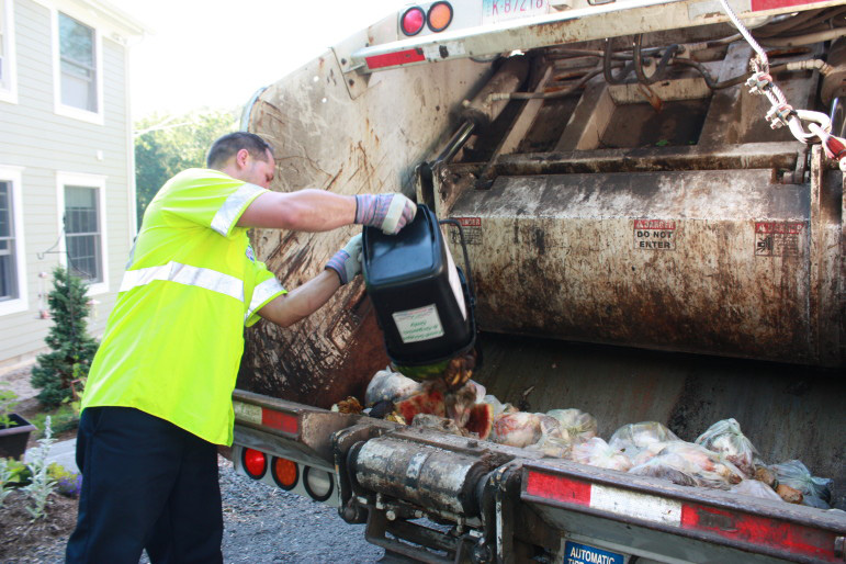 All American Waste picks up food waste at curbside as part of a pilot project in Bridgewater in 2014. The free pickup program proved to be not cost-effective, and it was recently cut back to a drop-off program. | Housatonic Resources Recovery Authority
