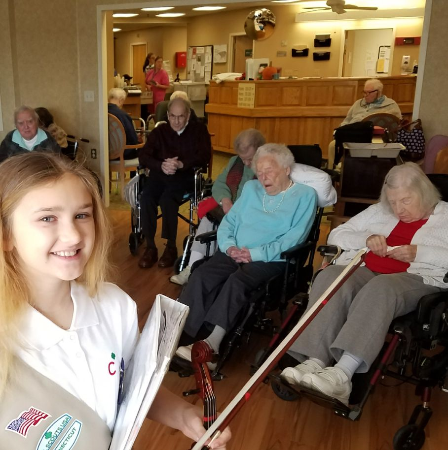 Nicole Kleinhen, 11, of Southington, played her viola for patients at the Southington Care Center on Thanksgiving morning to make sure nobody went without a visitor on the holiday. Courtesy of Sharon Kleinhen.