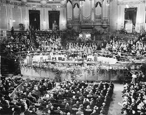 This is a general view of the first business meeting of the World Council of Christian Churches (WCC) in the Concertgebouw Hall in Amsterdam, Aug. 23, 1948. The constitution of the Council was formally approved at this meeting, which was presided over by the Archbishop Canterbury, Dr. Geoffrey Francis Fisher. The 14-day council is being attended by 450 delegates from many nations. (AP Photo)