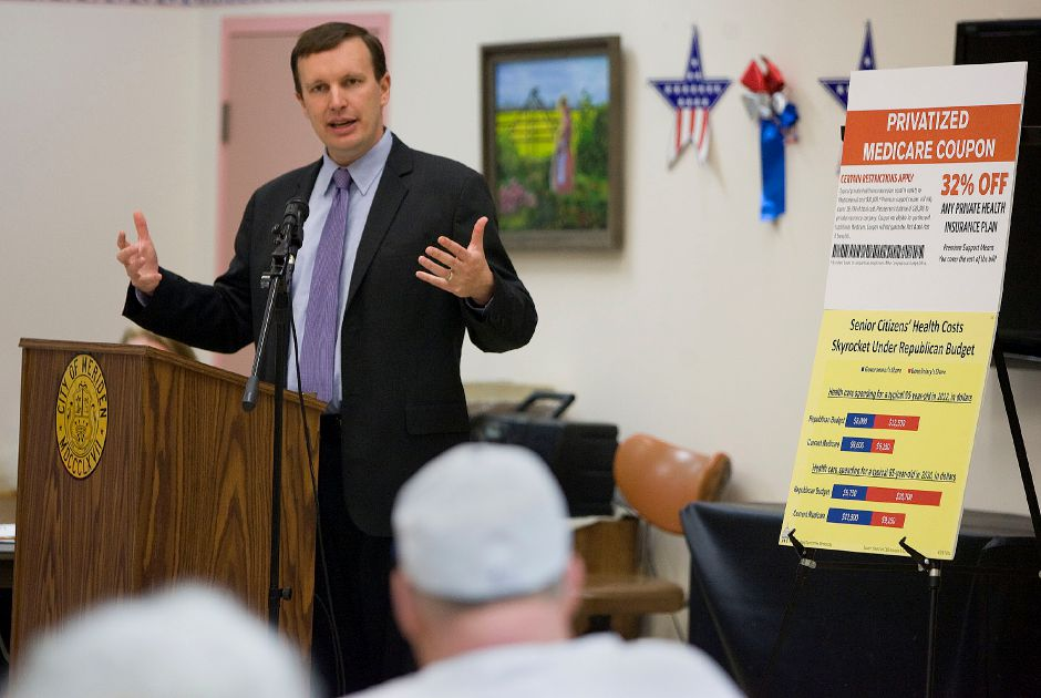Congressman Chris Murphy spoke to seniors about proposed changes to Medicare at the Meriden Senior Center in Meriden on Monday May 16, 2011. (Matt Andrew/ Record-Journal)