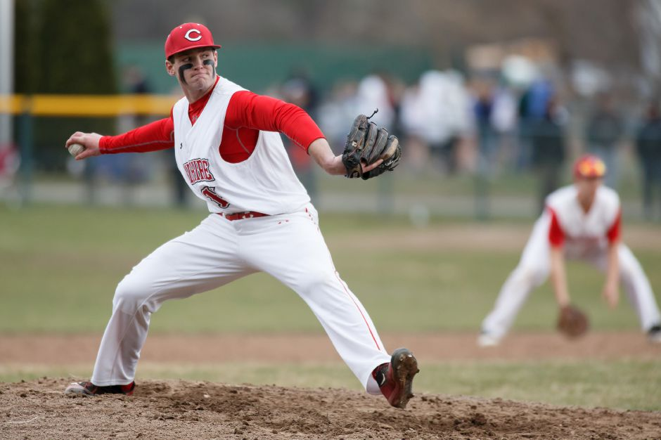 Ben DeLaubell threw a no-hitter in Cheshire's regular-season finale Monday against Notre Dame-West Haven, leading the Rams to a 5-0 victory at Quigley Stadium. | Justin Weekes / Special to the Record-Journal