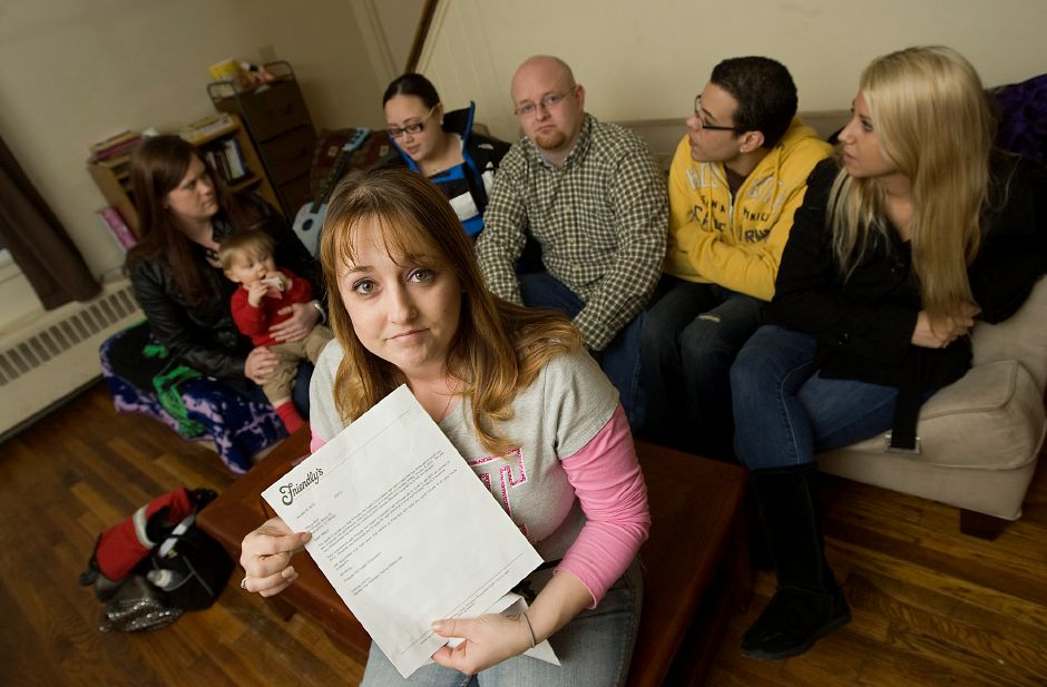Tiffany Soto, of Wallingford, shows a termination notice she received from Friendly