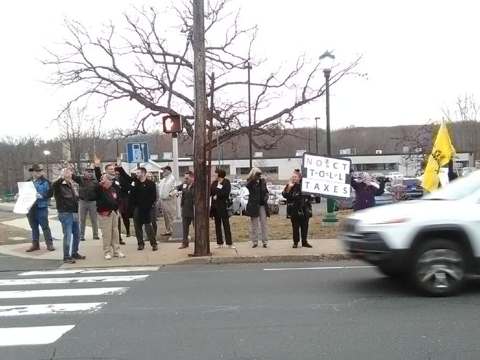 Opponents to tolls protest outside of the John Weichsel Municipal Center in Southington before a Town Council vote on an anti-toll resolution | Jesse Buchanan