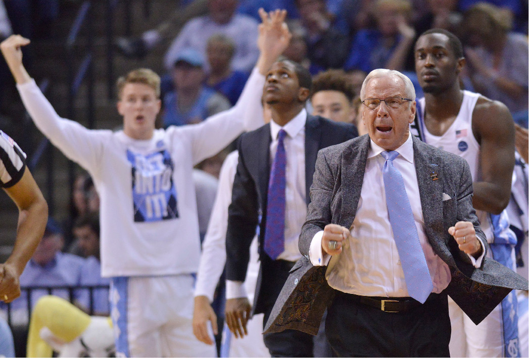 North Carolina head coach Roy Williams reacts to play against Butler in the second half of an NCAA college basketball tournament South Regional semifinal game Friday, March 24, 2017, in Memphis, Tenn. (AP Photo/Brandon Dill)