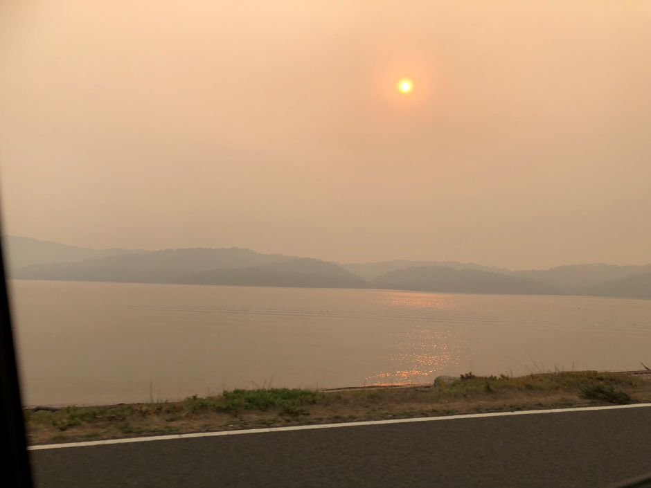 Janice Kraft-Baraslou, of Wallingford, snapped a few pictures of the smokey haze in Sebastopol, Calif.,  several hundred miles from the Camp Fire. The smoke has drifted to the San Francisco Bay area, where several towns, including Oakland, have canceled schools and respiratory masks are in short supply. Photo courtesy Janice Kraft-Baraslou