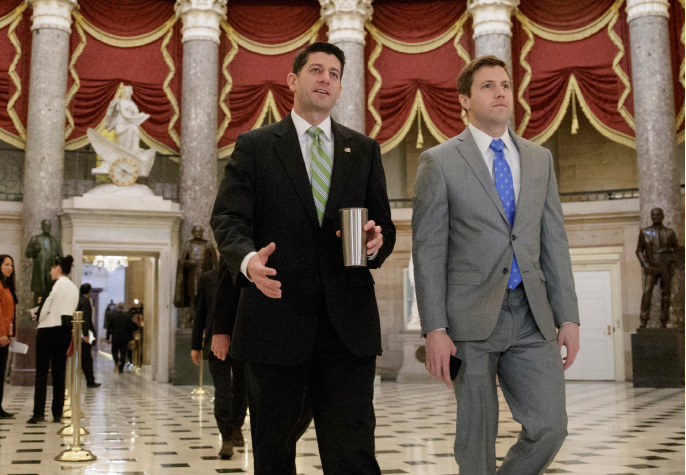 House Speaker Paul Ryan of Wis. arrives on Capitol Hill in Washington, Friday, March 24, 2017, as a showdown is set for a vote on the Republican health care overhaul after President Donald Trump made clear he is finished negotiating with GOP holdouts. (AP Photo/J. Scott Applewhite)
