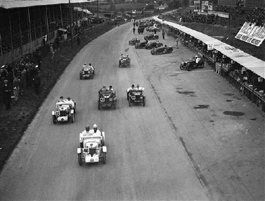 THe MG Midget team at the start of the Ulster Tourist Trophy race on the Ards Circuit in Belfast, Northern Ireland on Aug. 22, 1931. The race was won by Norman Black. (AP Photo/Staff/Putnam)