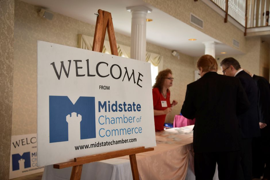 Members of the Midstate Chamber of Commerce gathered at the Aqua Turf Thursday, April 12 to celebrate award winners and elect incoming officers.| Bailey Wright, Record-Journal