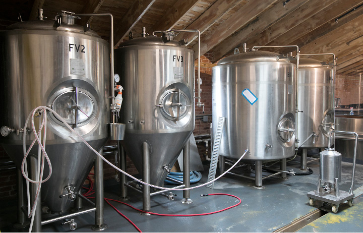 Tanks at Kinsmen Brewing Co., a new family-owned and operated brewery at 409 Canal St. in Southington, Wednesday, April 26, 2017.  | Dave Zajac, Record-Journal