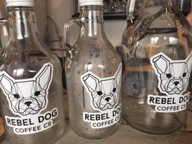 Growlers of coffee are offered at the new Rebel Dog Coffee Co., on Farmington Ave. in Plainville. An adjoining taproom is also new in the old Confetti Restaurant. |Ashley Kus, The Plainville Citizen