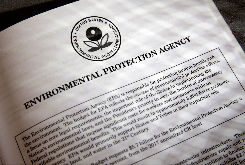 FILE - In this March 16, 2017, file photo, proposals for the Environmental Protection Agency (EPA) in President Donald Trump