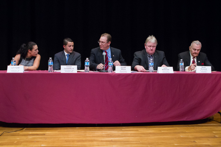 We the People and Republican candidates Monday during a forum for City Council and Mayoral candidates at Washington Middle School in Meriden  Sep. 28, 2015 | Justin Weekes / For the Record-Journal