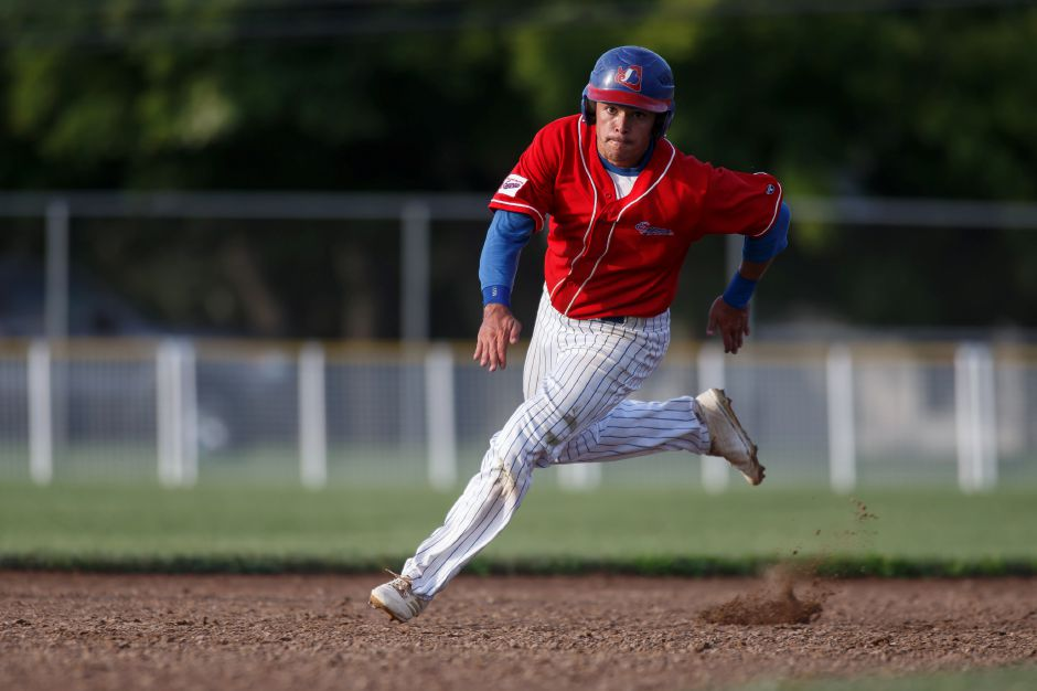 Joe Gulino and the first-place Record-Journal Expos improved to 9-1 in the Grearter Hartford Twilight Baseball League with A.J. Hendrickson's 5-0 shutout of Rainbow Graphics on Wednesday night at Ceppa Field.  | Justin Weekes / Special to the Record-Journal