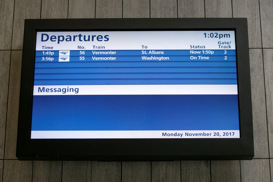 One of several monitors installed at the new Meriden train station, Monday, Nov. 20, 2017. The station opened Friday. | Dave Zajac, Record-Journal
