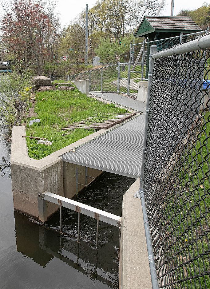 The Haakonsen Fishway at Wallace Dam in Wallingford, Thurs., May 2, 2019. Since the installation, fish populations using the fishway have not risen but Department of Energy and Environmental Protection officials hope it will rise in the next few years. Dave Zajac, Record-Journal