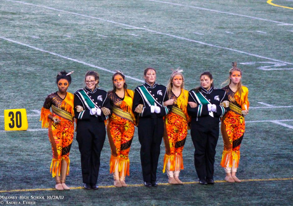 The Francis T. Maloney High School marching band performs at the USBands New England State Competition on Oct. 28, 2017. | Photo courtesy Andrea Steingisser Ethier
