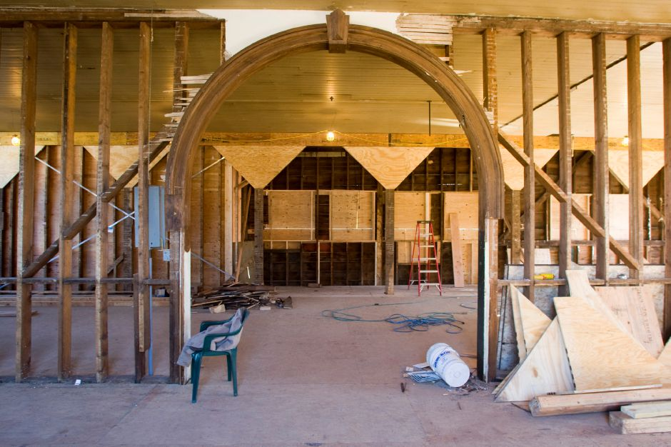 An archway is being preserved in the building at 44 West Main Street in front of Dean