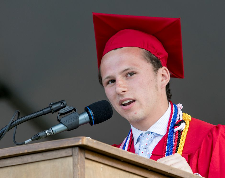Class of 2018 president Isaac Moskowitz speaks during graduation ceremonies at Cheshire High School, Thursday, June 21, 2018. Dave Zajac, Record-Journal