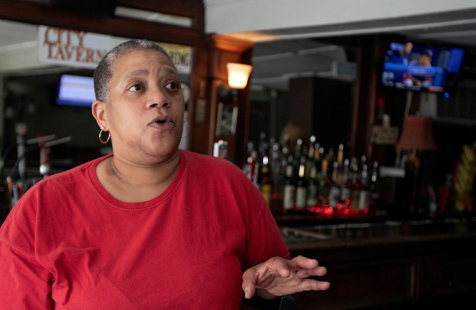 Brontain Stringer, of Meriden, patron of City Tavern, talks about the business at 521 Broad St., Meriden, Mon., May 20, 2019. Dave Zajac, Record-Journal